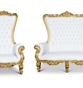 Love Seat white and gold