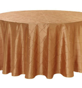 (specialty fabric)120-inch-round-pintuck-taffeta-tablecloth-gold